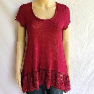Short Sleeve Tunic Top With Lace Ruffle Hem, Sz. L